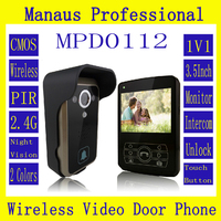 Hot Sale Smart Home 3.5 '' Screen Video Door Phone,Remote Unlock 2.4GHz Video Digital Wireless Front Door Peephole Camera D112a