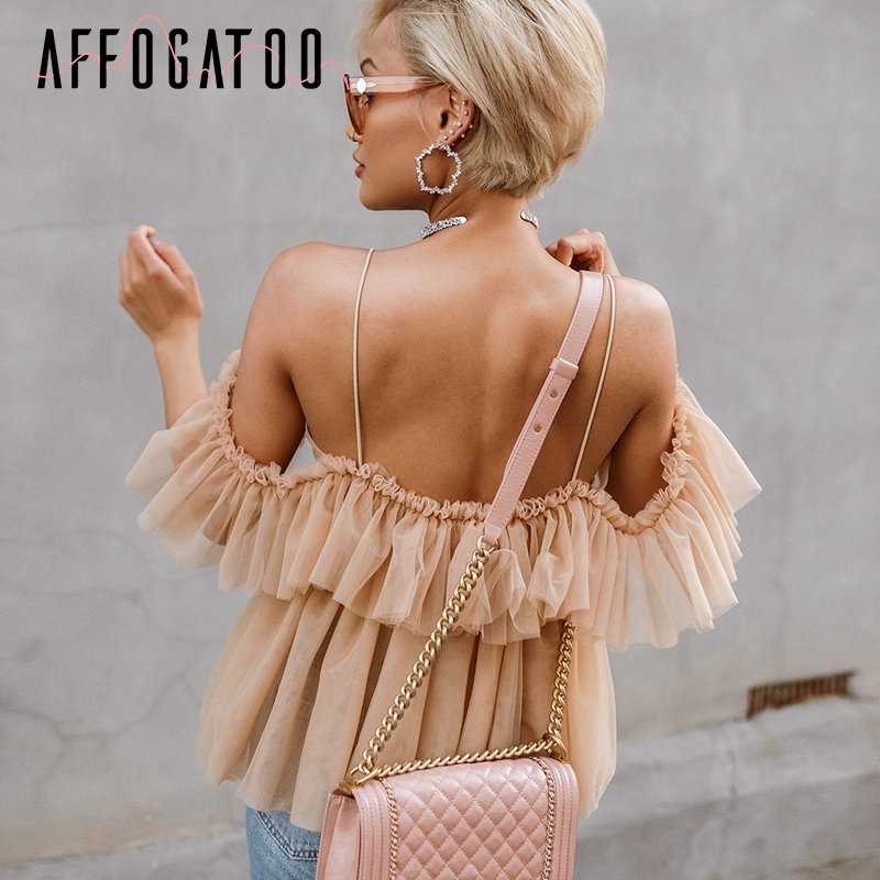 Affogatoo Sexy v neck off shoulder peplum blouse top Women Pleated vintage ruffle mesh blouse shirt