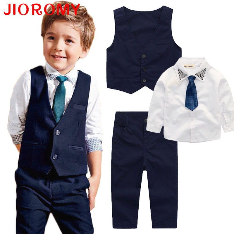 JIOROMY Jongens Kleding Pak 2017 Lente Katoen Lange Mouw Tie T-shirts + Vest + Broek 3 stks Gentleman Kids Kinderkleding Set