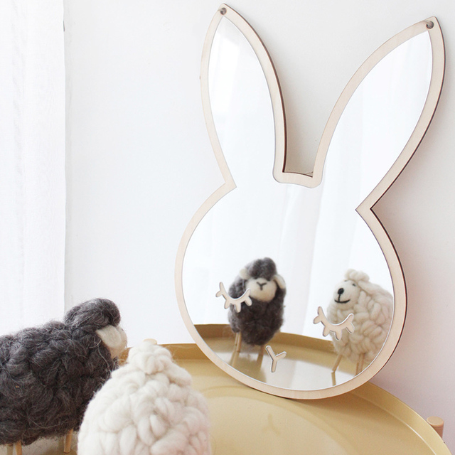 1pcs Nordic Cartoon Children Decorative Mirror Bathroom Baby Room Rabbit  Bowknot Wall Mirror Frame Creative Home