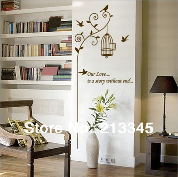 [Fundecor] New Family Tree Wall Decal Living Room Bedroom Bed Home Bird  Cage Decoration