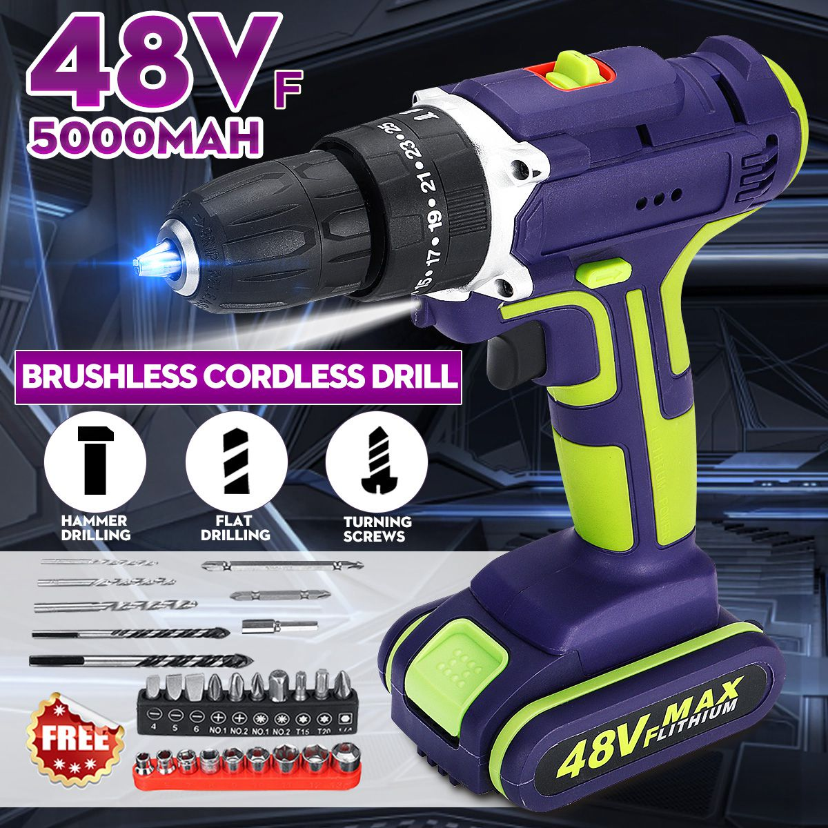 3 In 1 Professional 48V Cordless Drill Daul-Speed Adjustment LED Large Capacity Battery 50Nm 25+1 Torque 28pcs Accessories