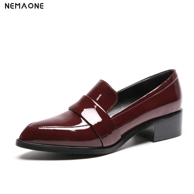 NEMAONE Women Fashion Low Heel Shoes Female genuine Leather Brock Chunky Shoes Lady Casual Loafers large