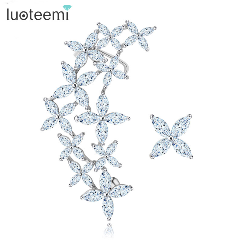 LUOTEEMI Wholesale Popular Jewelry White Gold-Color Romantic Elegant Lady Geometric Asymmetry CZ Crystal Flower Stud Earrings