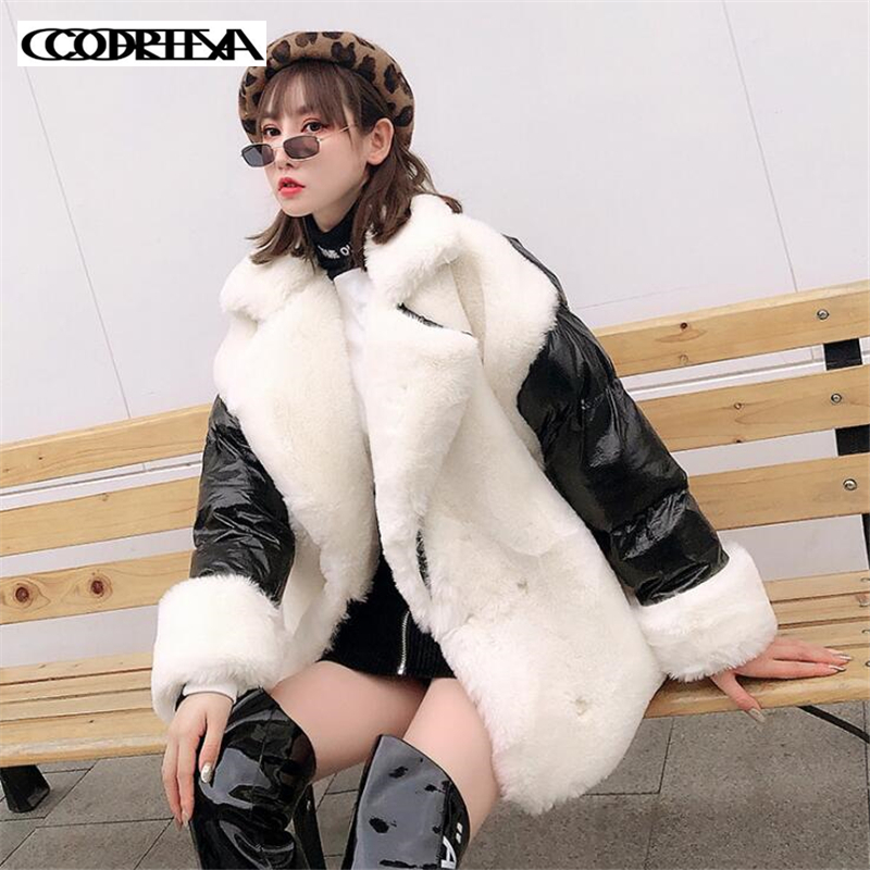 High end Women Winter Loose Imitation rabbit hair stitching women Parka Thick Warm Jacket Coat women