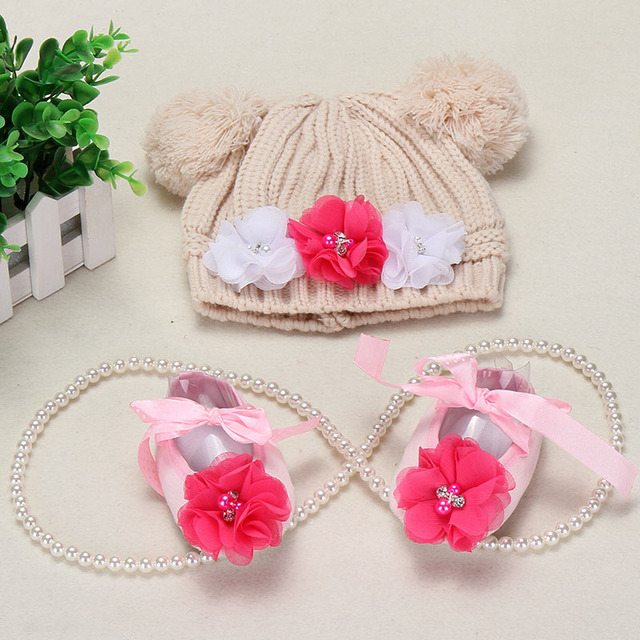 Big Flower Knitting Baby Shoes Girls Hats Sets ,Ballerina Booties,Sapatos Baby,Fashion Newborn Shoes,Vintage Accessories