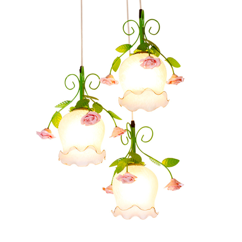 Country Rustic Dining Room Pendant Lamp Pink Ceramic Rose Green Metal Leaf White Glass Bar Counter Hallway Corridor Pendant Lamp