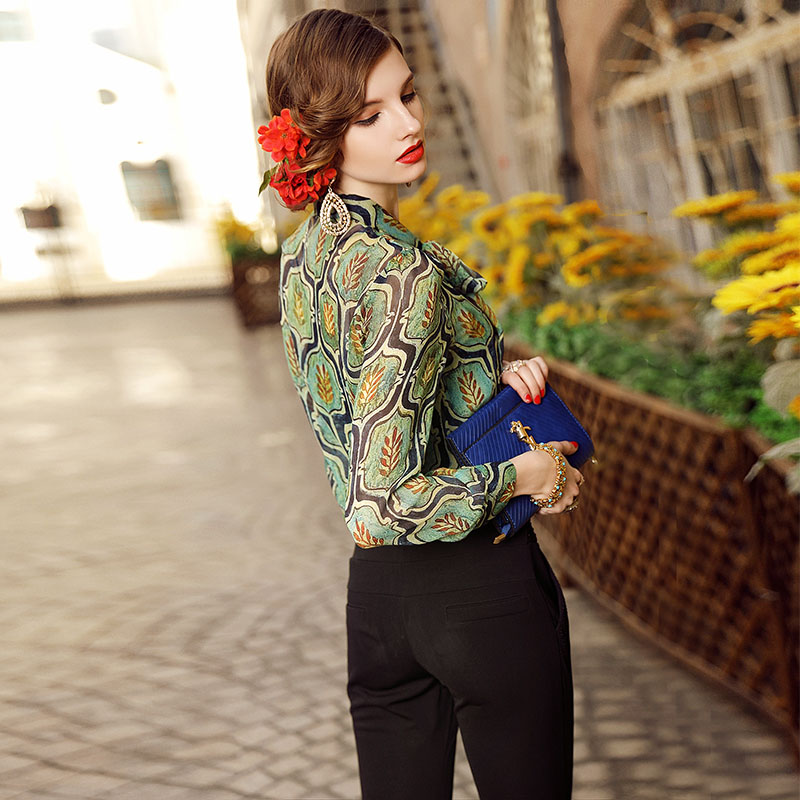 High end women vintage royal print floral silk blouse shirt European runway long sleeve elegant lady OL casual shirt S 3XL - 2