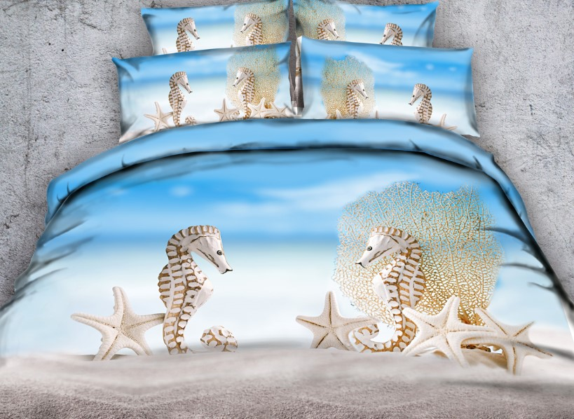 Beach Bedding Sets 3D Comforters Starfish Duvet Cover Bed In A Bag Cal King Queen Size Full Twin Bed Sheet Linen Bedspread 5PCS