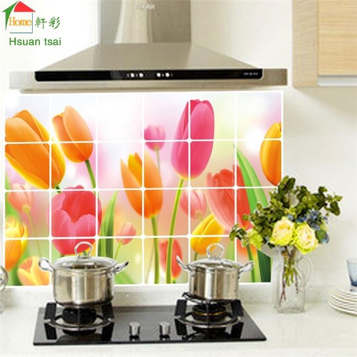 Purple Tulip Flowers Kitchen Vinyl Wall Stickers Home: Red Tulip Flower Kitchen Vinyl Wall Stickers Home Decor