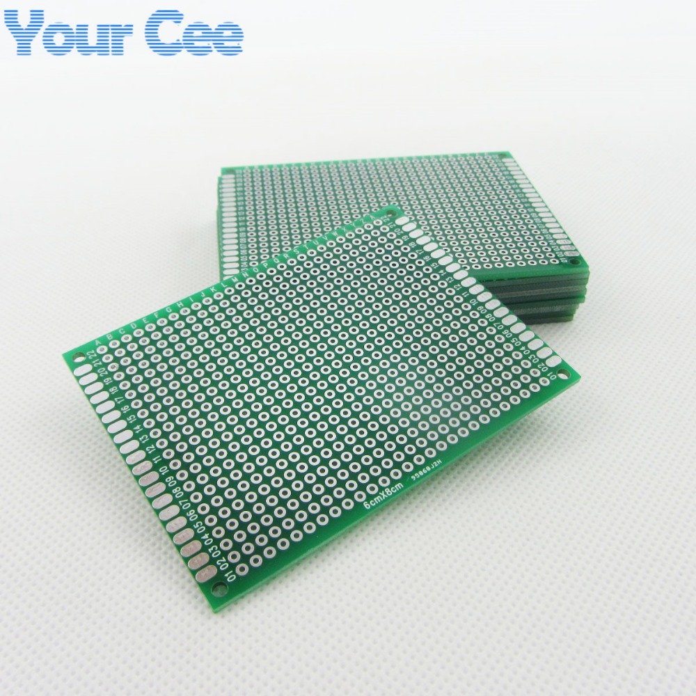 10pcs 6x8cm 68cm Double Side Prototype Pcb Breadboard Universal For Diy High Quality 2pcs Printed Circuit Panel Board Arduino 254mm Glass Fiber Practice Kit Tinned Hasl In Sided From