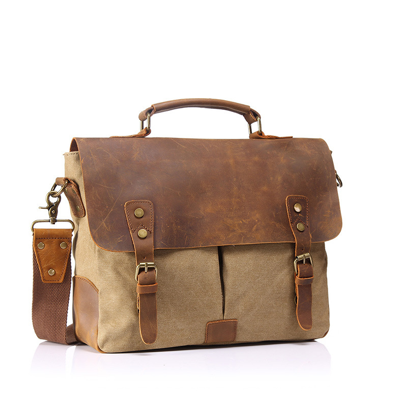 Bagaj ve Çantalar'ten Üstten Saplı Çanta'de Ilk katman cilt bir bez kanvas çanta retro tuval omuzdan askili çanta askılı çanta taşınabilir evrak çantası erkek single'da  Grup 2
