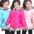 Free shipping Winter new arrival girl false two-piece with cap cotton-padded outerwear coat children clothing
