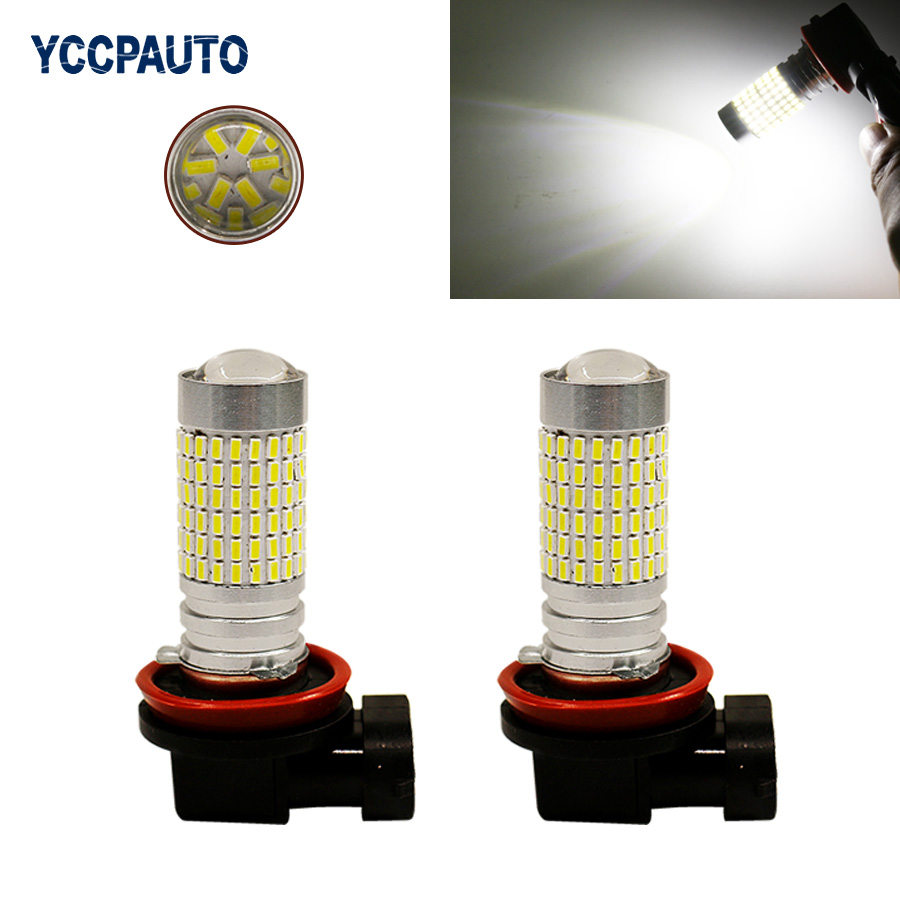 цены H8 H11 Led Lights Fog Light DRL Daytime Running Lights 6000K Xenon White Super Bright 144 Bulbs 3014 SMD with Projector 2Pcs