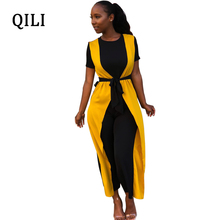 QILI Fake Two Piece Women Jumpsuits Short Sleeve Patchwork 3/4 Pants Wide Leg Jumpsuit Womens Plus Size Overalls With Belted