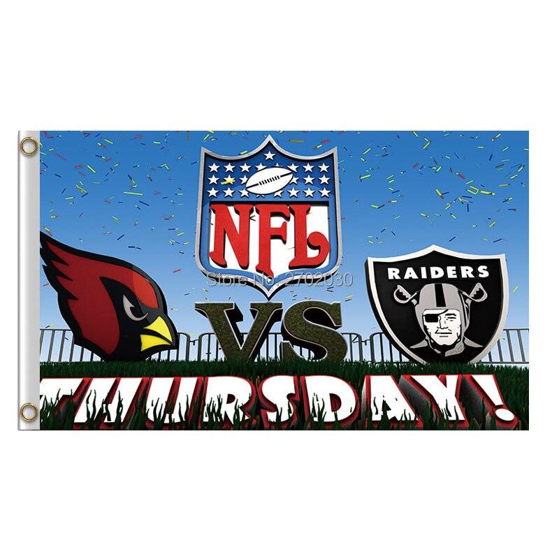 Yours Day Arizona Cardinals Vs Oaland Raiders Banner Flag NF*L World Series Football Team 3ft X 5ft Cardinals And Raiders Flag