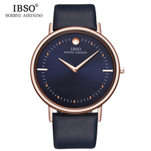 IBSO 2017 Mens Watches Top Brand 7.5MM Ultra-thin Genuine Leather Strap Quartz Watch Men Fashion Wristwatches Relogio Masculino