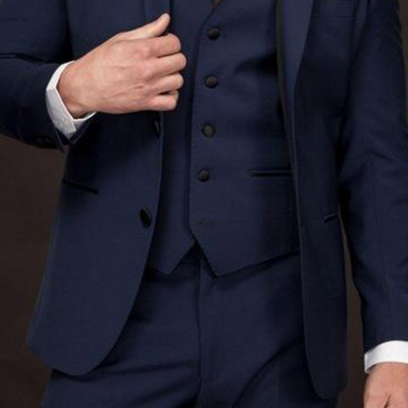 3 Piece Navy Blue Wedding Groom Tuxedos for Man Ceremony Classic Style Notched Lapel Busienss Best Men Suits Jacket Pants Vest in Suits from Men 39 s Clothing