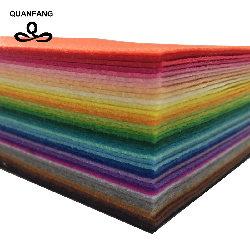 QUANFANG Non Woven Fabric 1mm Thickness Polyester Felt Of Home Decoration Pattern Bundle For Sewing Dolls Crafts 40pcs 10x15cm
