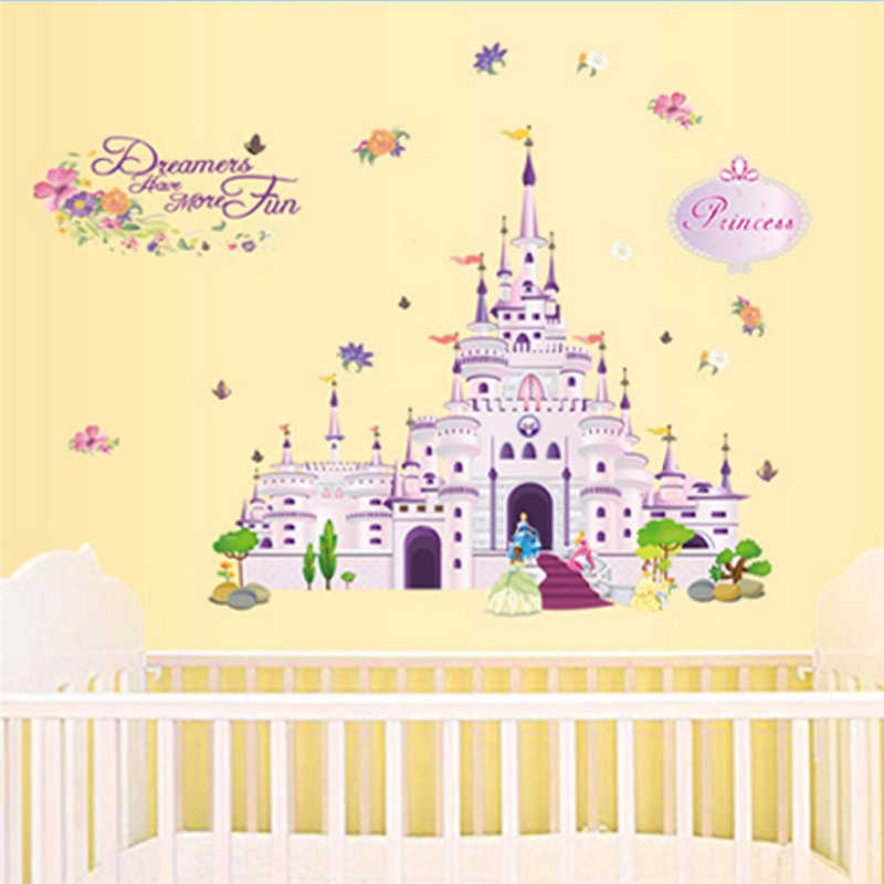 Romantic Princess Dream Castle Wall Stickers For Girls Room Decoration Nursery Wallpaper Kids Bedroom Pvc Mural Art Poster