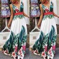 Lady Summer Holiday Floral Beach Boho Maxi V Neck Print Dress Evening Party Sundress