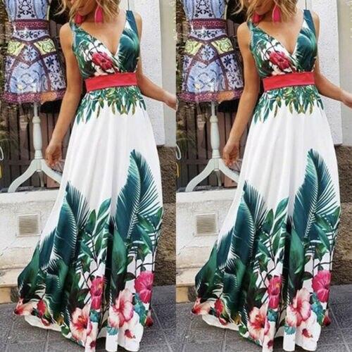 Senhora Férias de Verão Floral Praia Boho Maxi V Impressão Pescoço Vestido de Noite Vestido de Festa Vestido de Verão