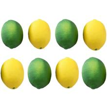 8 Pack Artificial Fake Lemons Limes Fruit for Vase Filler Home Kitchen Party Decoration, Yellow and Green