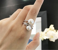 fashion monaco jewelry double pearl ring S925 sterling silver zircon mini star finger ring wedding gift