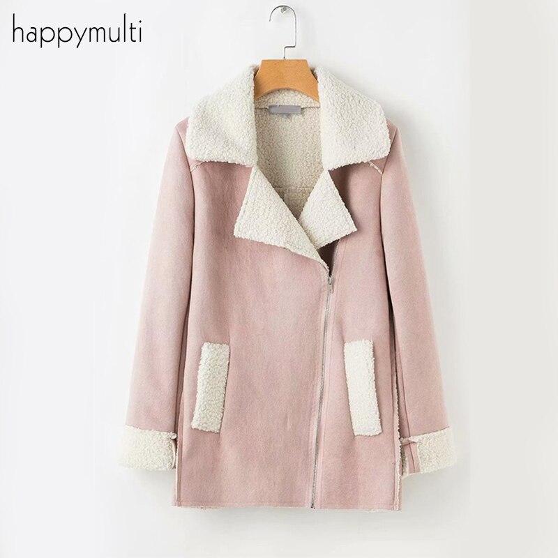 Faux   Suede   Coats Happymulti Women Casual Faux   Leather   Zipper Flocking Female Autumn Winter Elegant Coat