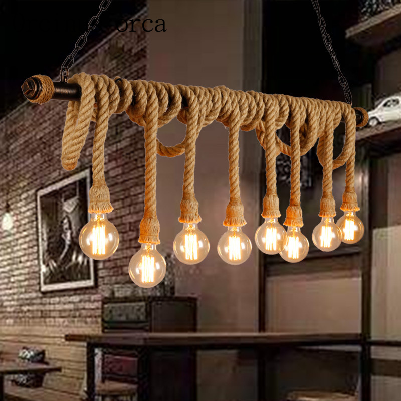 Nordic Industrial wind rope retro clothing store Cafe Cafe pendant lamp Postage free цена