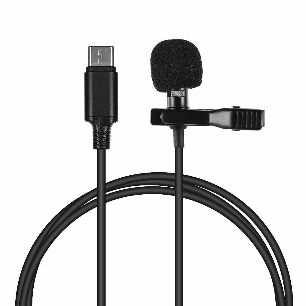 Mini Lapel Lavalier Clip-on Condenser Microphone Mic with Type-C Plug for Android IOS Smartphone USB Microphone