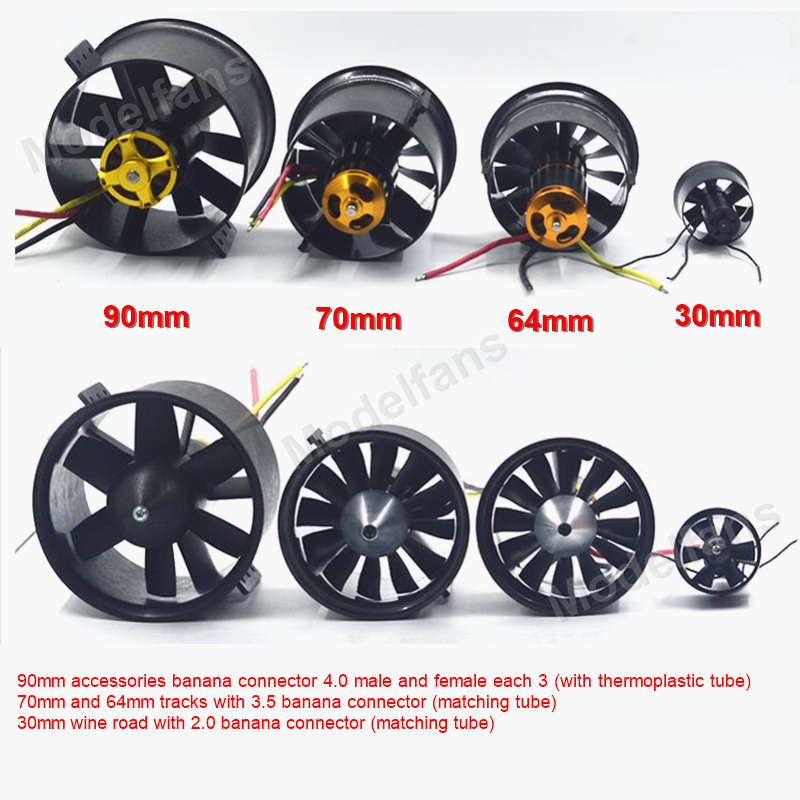 QX-MOTOR EDF 30mm/64mm/70mm/90mm with 2822/1611/2827/3530 Brushless Motor For DIY Drone RC Airplain Model image