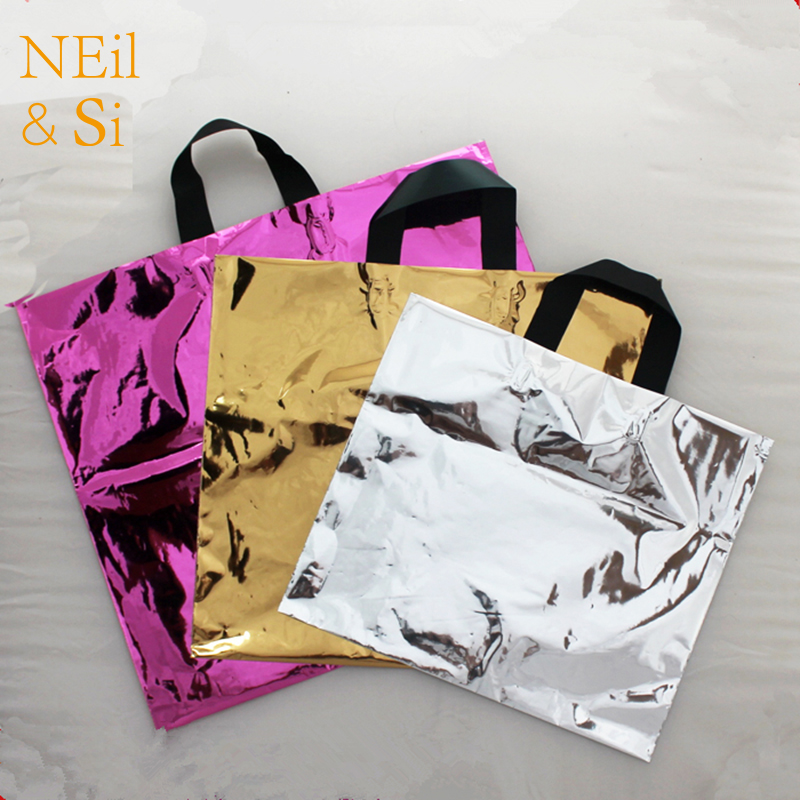 Glossy Handle Plastic Bag Shopping Mall Packaging Pouch Wedding Favor Gift Grocery Clothes Foil Bag Free Shipping