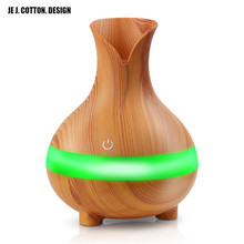 Portable Vase Air Humidifier Wood Grain 300ML Aromatherapy Diffuser Ultrasonic with Colorful LED Light USB Essential Oil Aroma 300ml colorful led timing ultrasonic wood grain base aromatherapy machine air humidifier aerosol dispenser diffuser 2 colors