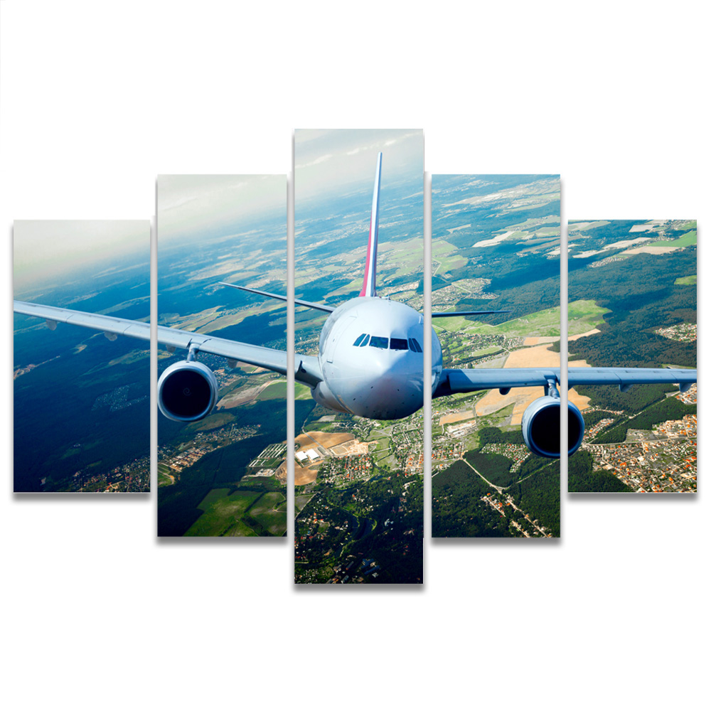 Unframed HD Canvas Prints Airliner Overlook Ground Modular Picture Prints Wall Picture For Living Room Wall Art Decoration