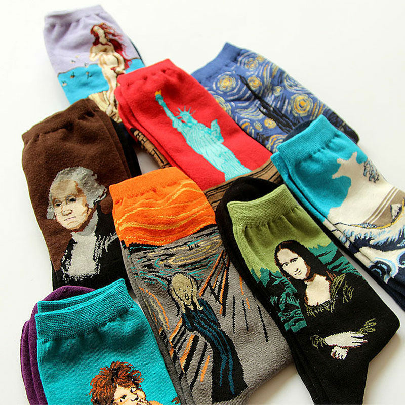Novelty Famous Oil Painting Art Socks Women's Men's Street Graffiti  Van Gogh Mona Lisa Long Sock Winter Autumn Cotton Socks