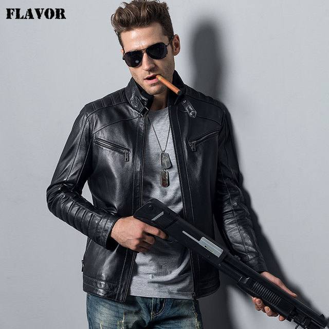 Men's Genuine Sheepskin Leather Jacket motorcycle coat male ...