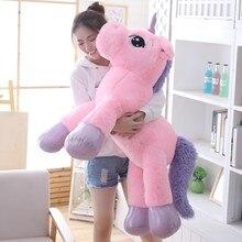 85 cm/100 cm Unicornio blanco juguetes de Peluche Unicornio gigante caballo de Peluche juguete suave Unicornio Peluche muñeca regalo niños foto Accesorios