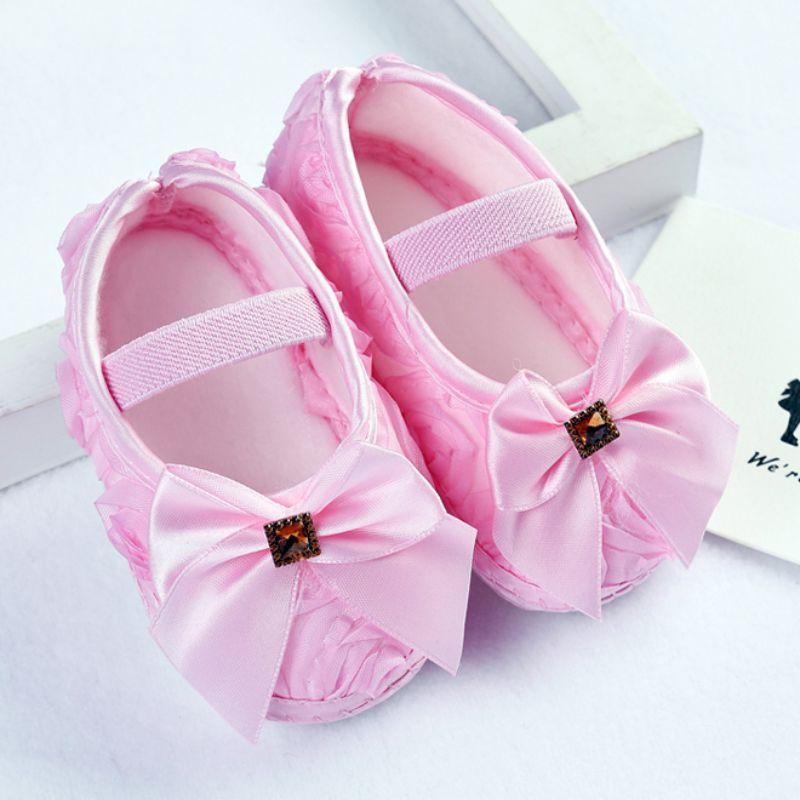 Zapatos de Los Bebés Noble Princesa Del Arco de Flores Zapatos de Bebé Suaves Ún