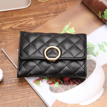BISI GORO 2019 Women Short Wallets Cowhide Leather Black Rhomboid Lattice Card Holder Wallet Ring Lock Hasp Coin Purses Wallet