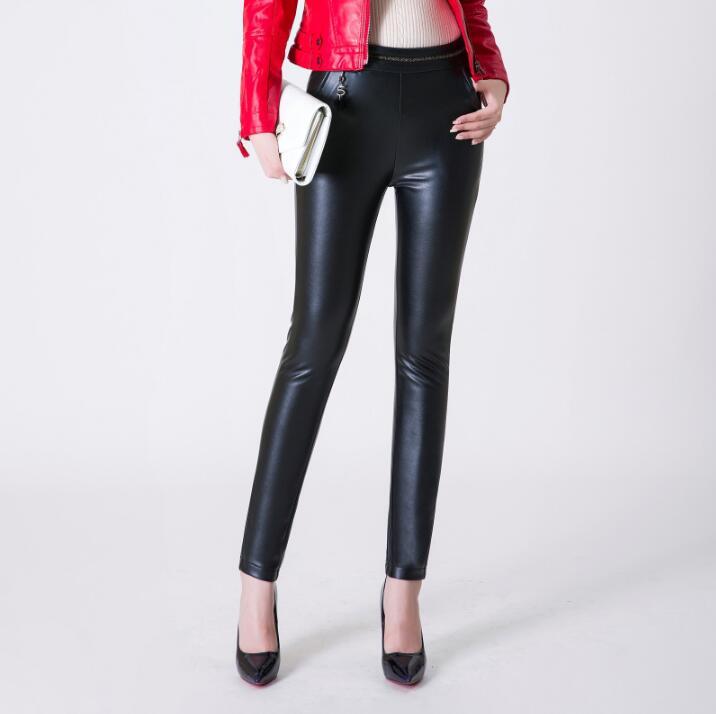 Hot 2018 Fashion Women Genuine leather sheepskin trousers pencil pants casual leather pants Female Slim leggings Bootcut