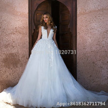 Cianlsria A-line V-Neck Back Wedding Dress 2019