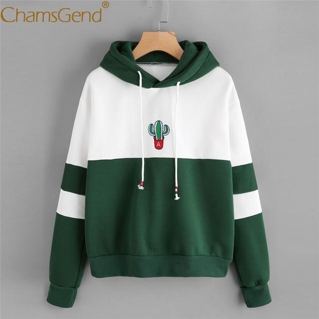 US $12 69 35% OFF|Chamsgend Hoodies Sweatshirts Women Girls Cactus Pattern  Green Hoody Sweatshirt Striped Pullover Spring Fall moletom 71220-in