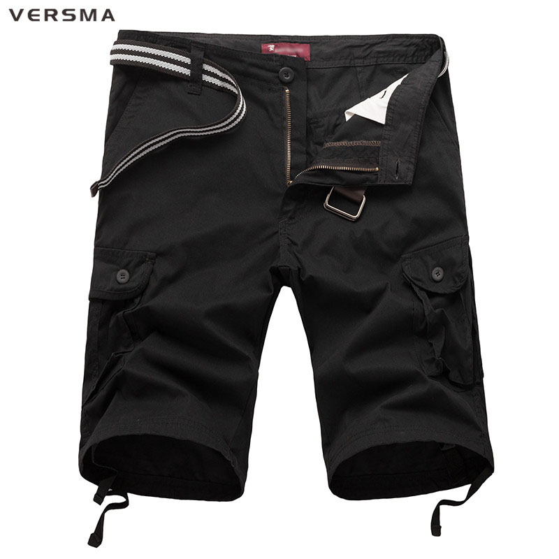 VERSMA Mens Black Cotton Workout Bermuda Cargo Shorts Fashion Casual Men Solid Loose Knee Length Camouflage Shorts Without Belt
