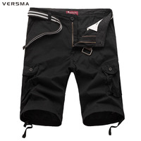 Summer Mens Black Cotton Workout Bermuda Cargo Shorts Fashion Casual Men Solid Loose Knee Length Camouflage