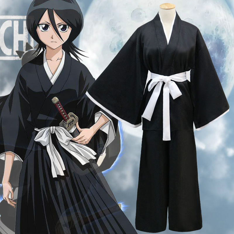 Anime Bleach Shinigami Death Kimono Carnaval Disfraces Cosplay Costumes Halloween Costumes Black Full set of cloak pants girdle