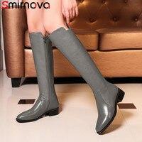 Smirnova/черная модная осенне зимняя обувь, женские сапоги до колена с квадратным носком на низком каблуке, женские сапоги из натуральной и иску