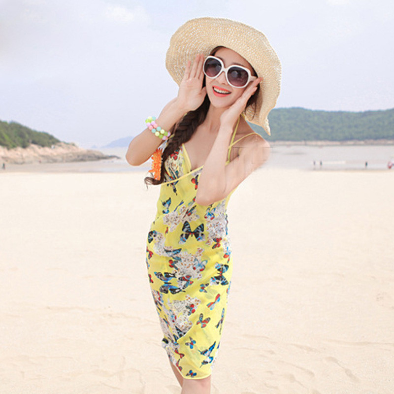 Women Beach Dress Swimwear Sexy Sling Beach Wear Dress Sarong Bikini Cover-ups Wrap Pareo Skirts Towel Flower Open-Back Swimsuit 9
