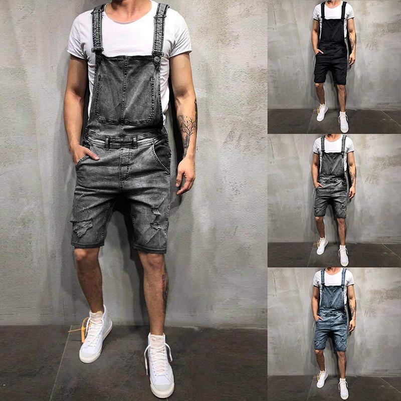 2019 Oversize Men Ripped Jeans Jumpsuits Short Pants Summer  Street Style Distressed Denim Bib Overalls Suspender Short Pants