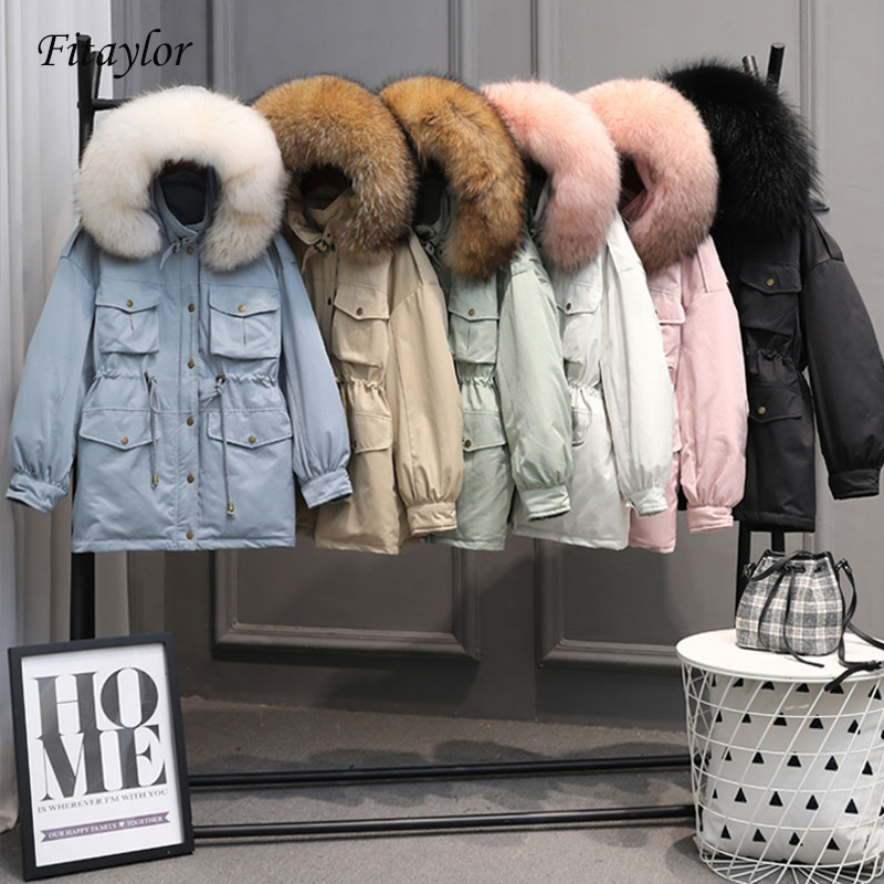 Fitaylor Winter Jackets Women White Duck   Down   Large Natural Raccoon Fur   Coat   Hooded Parkas Female Sash Tie Up Snow Outwear